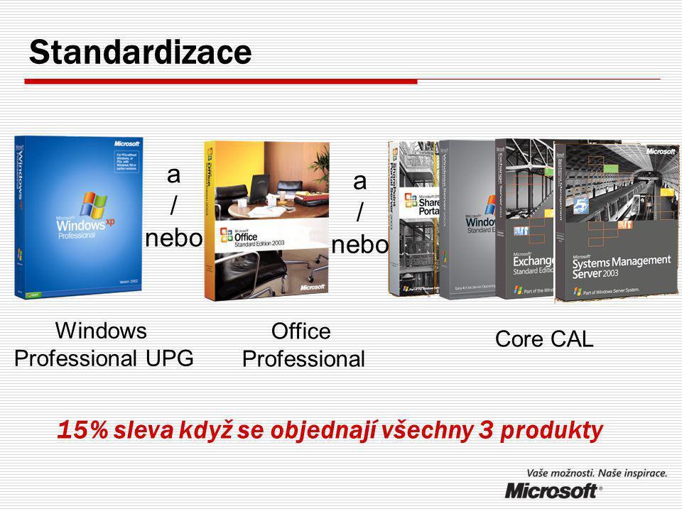 Zjednodušení správy počítačů  Jedna verze OS na všech počítačích  Jedna verze kancelářského balíku na všech počítačích  Mnohem jednodušší je se starat o počítače s jednou verzí OS a jedno verzí aplikací  snažší a časově nenáročná údržba počítačů  lepší bezpečnost sítě Standardizace