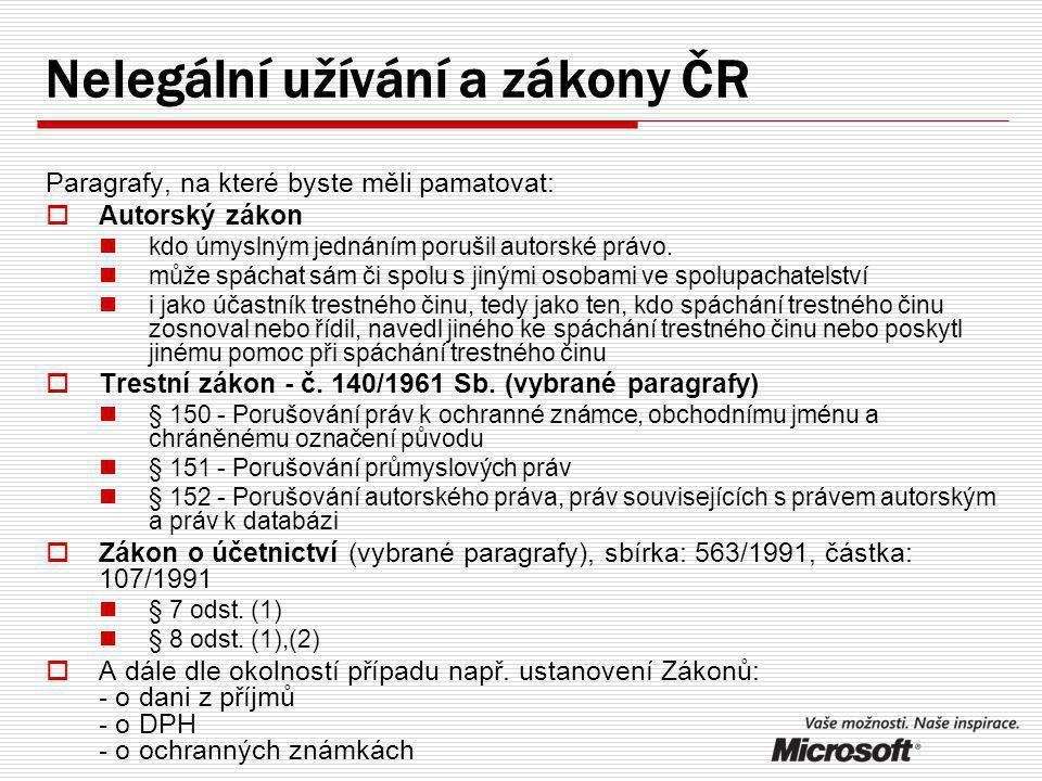 Nelegální užívání a zákony ČR Paragrafy, na které byste měli pamatovat:  Autorský zákon kdo úmyslným jednáním porušil autorské právo.
