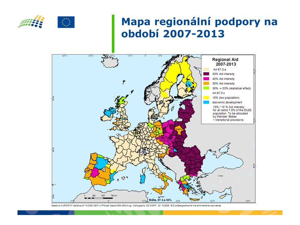 Mapa regionální podpory na období 2007-2013