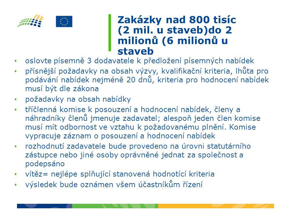 Zakázky nad 800 tisíc (2 mil.