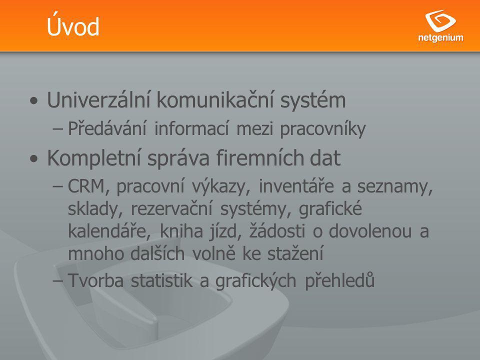 Úvod Univerzální komunikační systém –Předávání informací mezi pracovníky Kompletní správa firemních dat –CRM, pracovní výkazy, inventáře a seznamy, sk