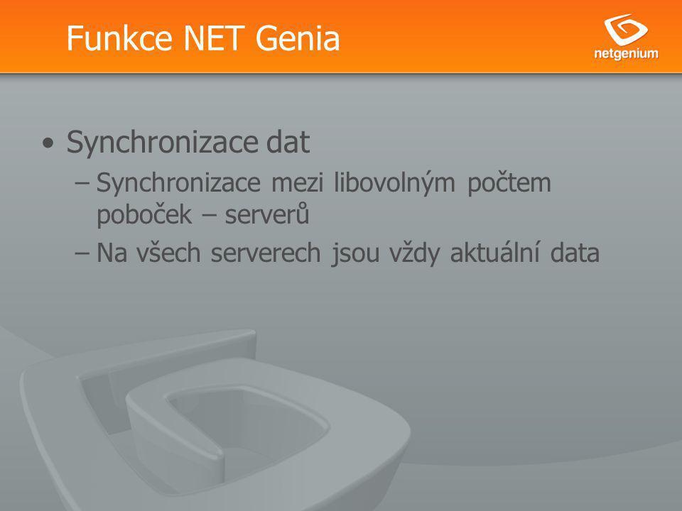 Funkce NET Genia Synchronizace dat –Synchronizace mezi libovolným počtem poboček – serverů –Na všech serverech jsou vždy aktuální data