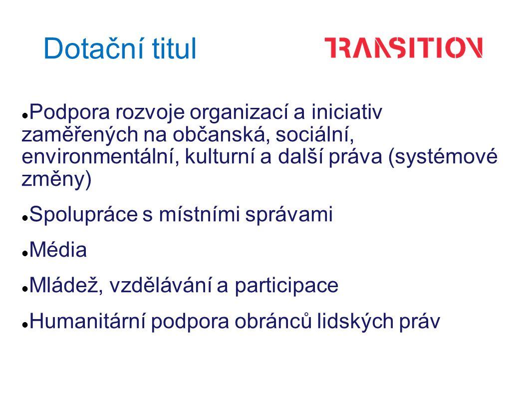 Dotační titul Podpora rozvoje organizací a iniciativ zaměřených na občanská, sociální, environmentální, kulturní a další práva (systémové změny) Spolupráce s místními správami Média Mládež, vzdělávání a participace Humanitární podpora obránců lidských práv