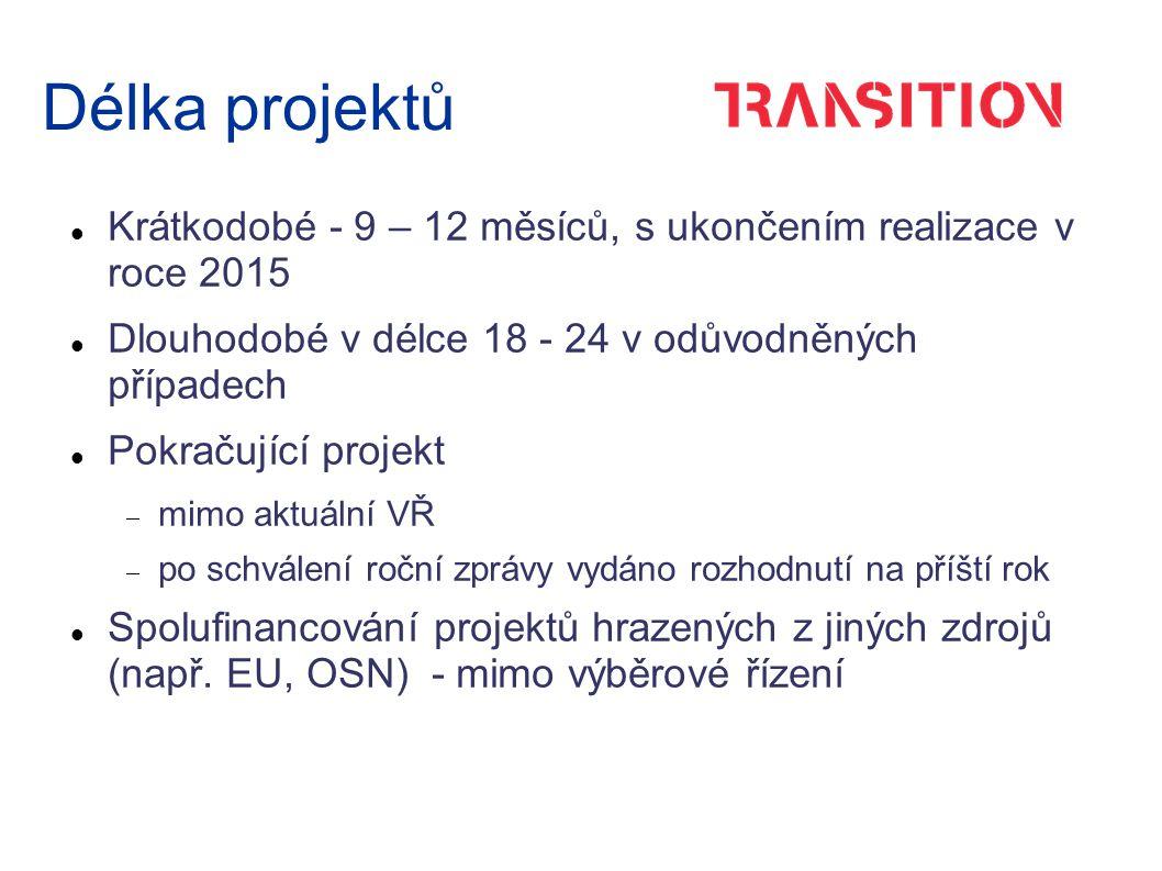 Délka projektů Krátkodobé - 9 – 12 měsíců, s ukončením realizace v roce 2015 Dlouhodobé v délce 18 - 24 v odůvodněných případech Pokračující projekt  mimo aktuální VŘ  po schválení roční zprávy vydáno rozhodnutí na příští rok Spolufinancování projektů hrazených z jiných zdrojů (např.