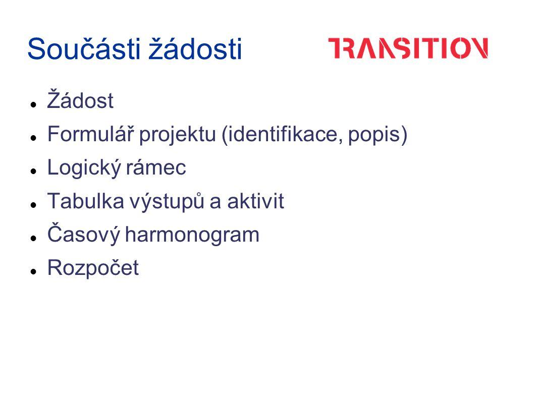 Součásti žádosti Žádost Formulář projektu (identifikace, popis) Logický rámec Tabulka výstupů a aktivit Časový harmonogram Rozpočet