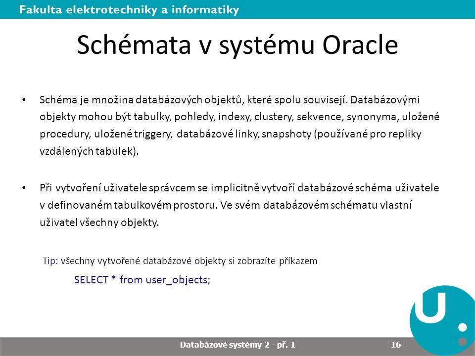 Schémata v systému Oracle Schéma je množina databázových objektů, které spolu souvisejí. Databázovými objekty mohou být tabulky, pohledy, indexy, clus