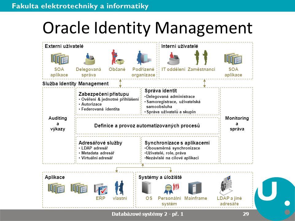 LDAP a jiné adresáře OS Systémy a úložištěAplikace ERPvlastníPersonální systém Mainframe Auditing a výkazy Definice a provoz automatizovaných procesů