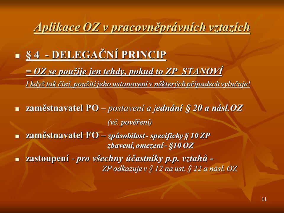 11 Aplikace OZ v pracovněprávních vztazích § 4 - DELEGAČNÍ PRINCIP § 4 - DELEGAČNÍ PRINCIP = OZ se použije jen tehdy, pokud to ZP STANOVÍ I když tak č