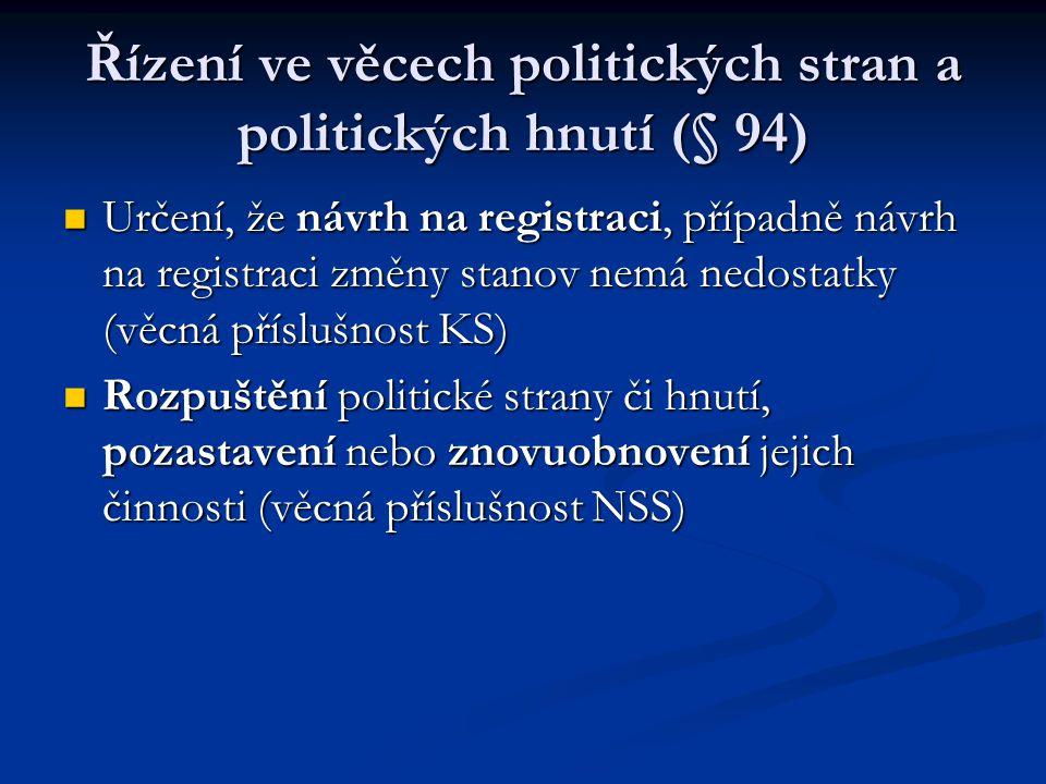 Řízení ve věcech politických stran a politických hnutí (§ 94) Určení, že návrh na registraci, případně návrh na registraci změny stanov nemá nedostatk