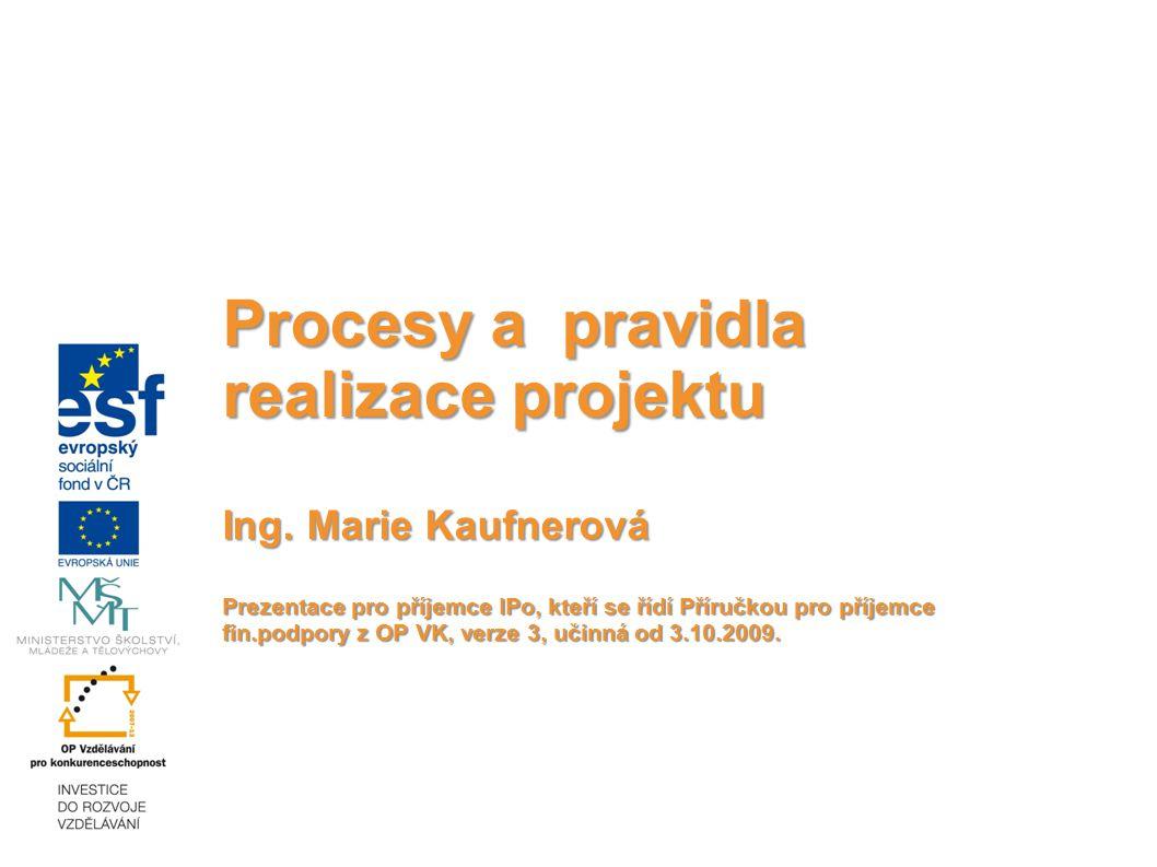 Procesy a pravidla realizace projektu Ing.