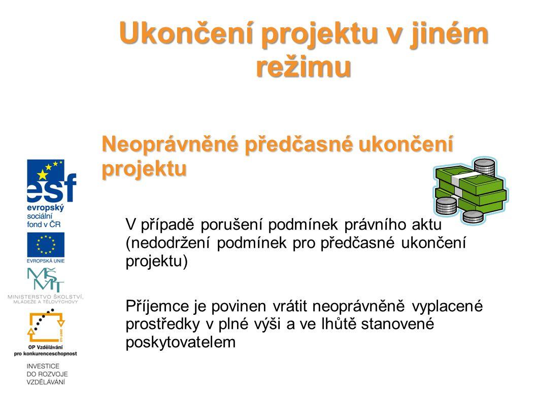 Ukončení projektu v jiném režimu Neoprávněné předčasné ukončení projektu V případě porušení podmínek právního aktu (nedodržení podmínek pro předčasné ukončení projektu) Příjemce je povinen vrátit neoprávněně vyplacené prostředky v plné výši a ve lhůtě stanovené poskytovatelem 18.12.2014