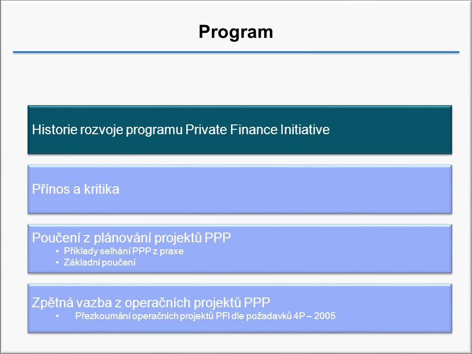 Projekty PPP ve Velké Británii Forma 'Private Finance Initiative' jako klíčová metoda realizace projektů PPP ve Velké Británii Dartford River Crossing – 1987 Zavádění PFI od roku 1992 – zprvu však málo projektů Zásadní nárůst počtu projektů v období mezi lety 1995 a 2001 Od 2001 – méně projektů, avšak s vyšší kapitálovou hodnotou