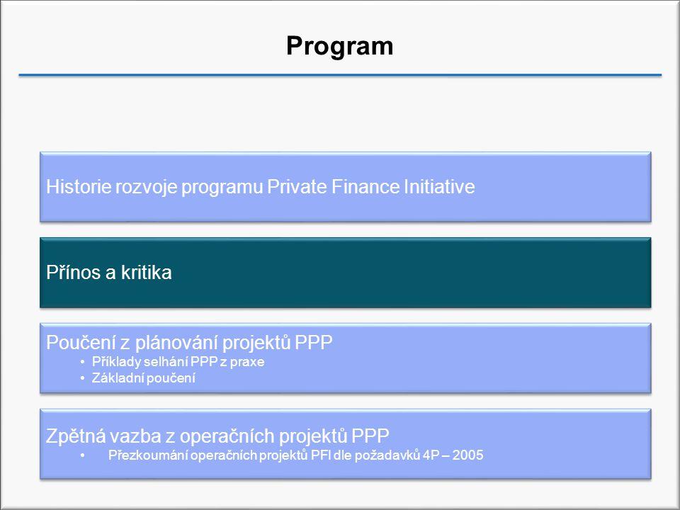 Přínos Hodnota za peníze Urychlení rozvoje infrastrukturní sítě Snížení nákladů v průběhu životního cyklu projektu Výhodnější rozložení rizik Vyšší motivace Nárůst kvality služeb Tvorba výnosů externích subjektů Zkvalitnění systému řízení veřejných financí Příležitost k využití inovačního potenciálu a manažerských schopností soukromého sektoru