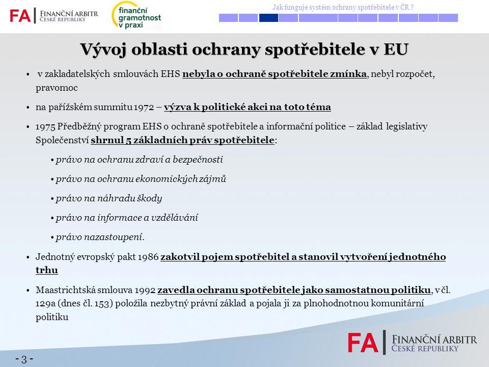 - 4 - 493 milionů spotřebitelů EU – tahoun ekonomik, spotřeba 58 % HDP EU - růst, zaměstnanost, spojení s obyvatelstvem Cíle: posílit postavení spotřebitele zvýšit jejich blahobyt účinně chránit spotřebitele před závažnými riziky a hrozbami Opatření: zlepšit kontrolu spotřebitelských trhů a vnitrostátních spotřebitelských politik lepší právní předpisy v oblasti ochrany spotřebitele zlepšit informovanost a vzdělání spotřebitelů učinit spotřebitele středem zájmu dalších politik a právních předpisů EU lepší ochrana spotřebitele EU na mezinárodních trzích zlepšit vymahatelnost předpisů provádění a prosazování – nekalé obchodní praktiky, bezpečnost výrobků aj.