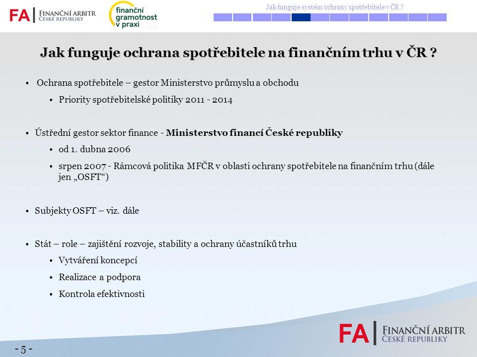 - 5 - Ochrana spotřebitele – gestor Ministerstvo průmyslu a obchodu Priority spotřebitelské politiky 2011 - 2014 Ústřední gestor sektor finance - Mini