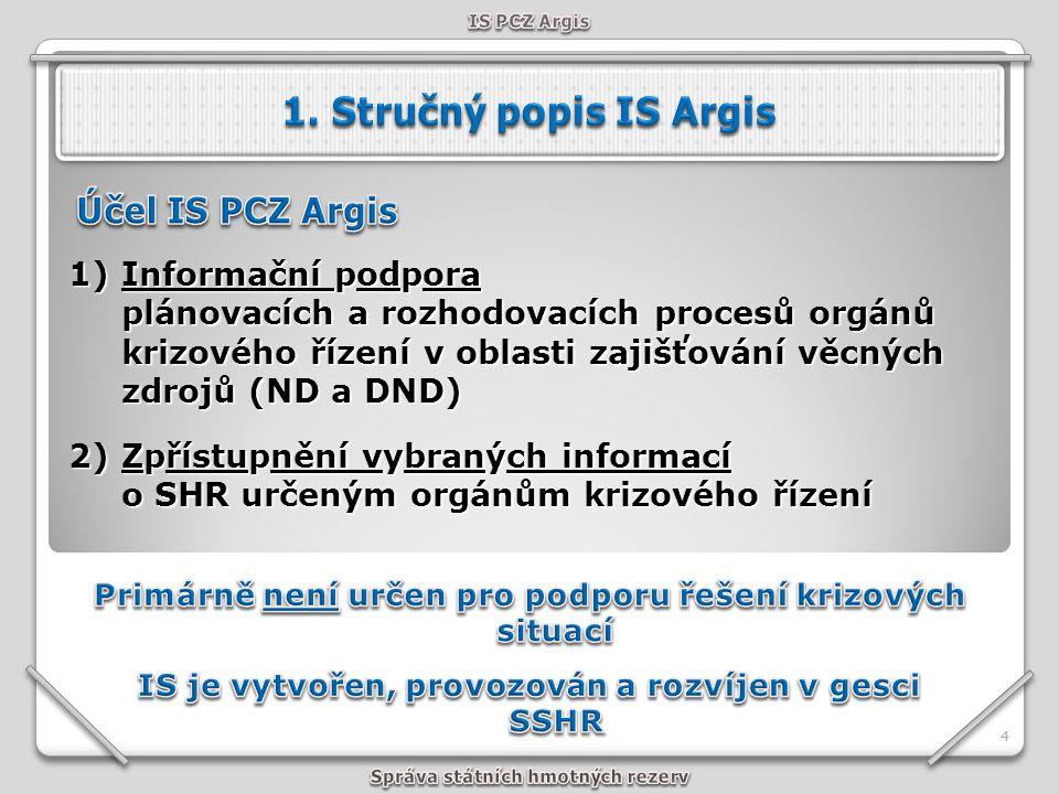 Server SSHR 55 IS PCZ Argis NH Objekty SHR MR ROBIS IS Argis je realizován jako centrální systém s modulární strukturou, kde nad společnou servisní částí (správa číselníků a registrů, nástroje pro práci s mapovými podklady, komunikační subsystém se správou účtů a práv) jsou vytvářeny moduly jednotlivých aplikací.