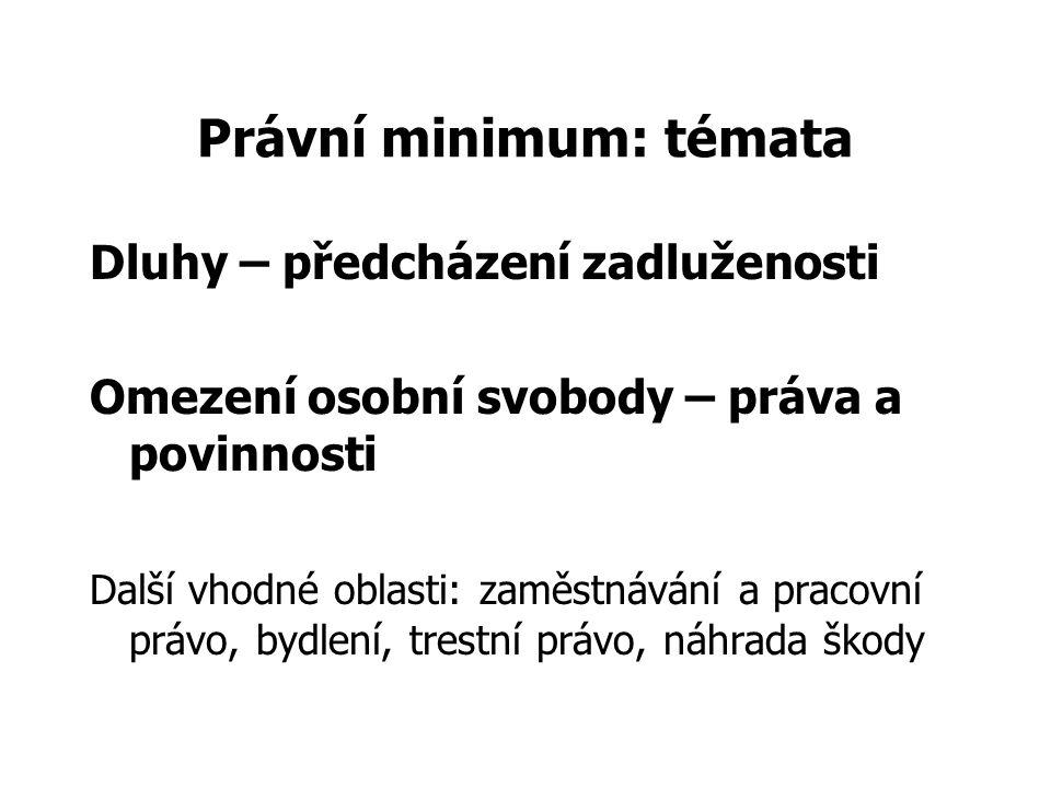 Právní minimum: témata Dluhy – předcházení zadluženosti Omezení osobní svobody – práva a povinnosti Další vhodné oblasti: zaměstnávání a pracovní právo, bydlení, trestní právo, náhrada škody