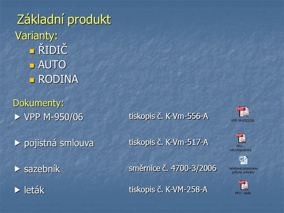 Základní produkt Varianty: ŘIDIČ ŘIDIČ AUTO AUTO RODINA RODINA Dokumenty:  VPP M-950/06 tiskopis č. K-Vm-556-A  pojistná smlouva tiskopis č. K-Vm-51