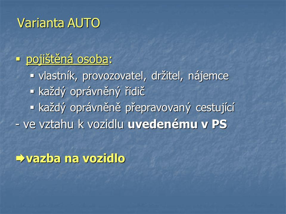  pojištěná osoba:  vlastník, provozovatel, držitel, nájemce  každý oprávněný řidič  každý oprávněně přepravovaný cestující - ve vztahu k vozidlu u