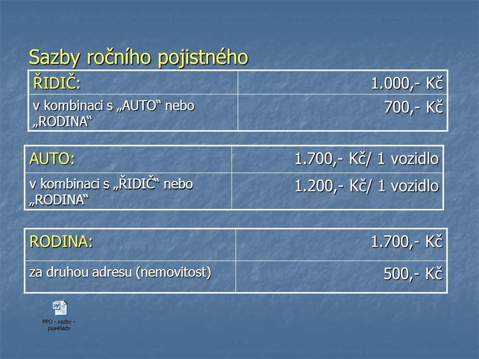 """Sazby ročního pojistného AUTO: 1.700,- Kč/ 1 vozidlo v kombinaci s """"ŘIDIČ"""" nebo """"RODINA"""" 1.200,- Kč/ 1 vozidlo RODINA: 1.700,- Kč za druhou adresu (ne"""