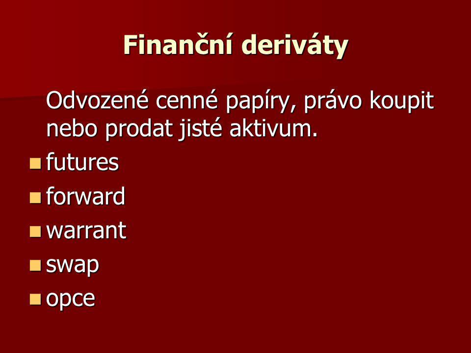 Finanční deriváty Odvozené cenné papíry, právo koupit nebo prodat jisté aktivum.