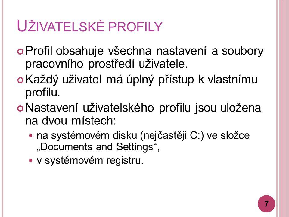 U ŽIVATELSKÉ PROFILY Profil obsahuje všechna nastavení a soubory pracovního prostředí uživatele.