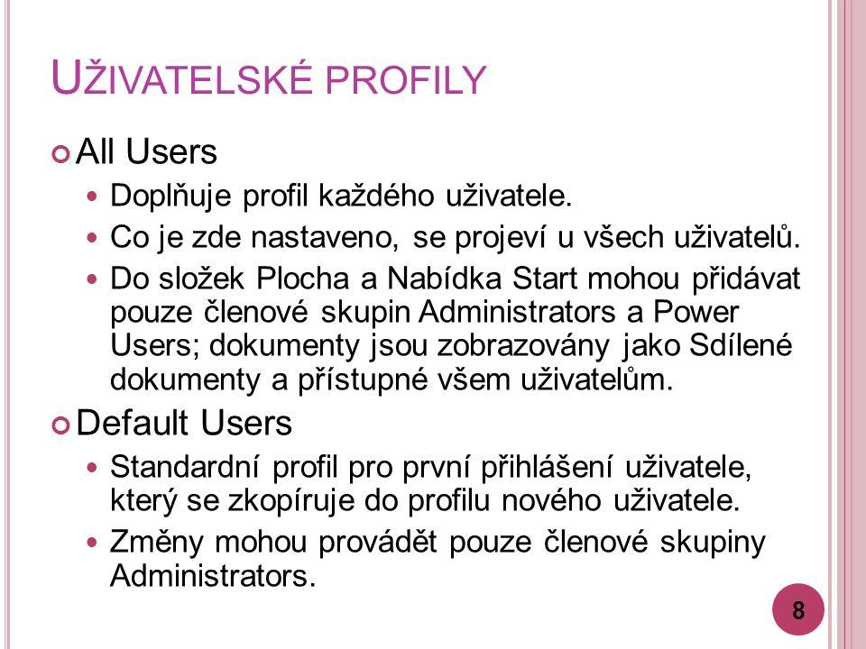 U ŽIVATELSKÉ PROFILY All Users Doplňuje profil každého uživatele.