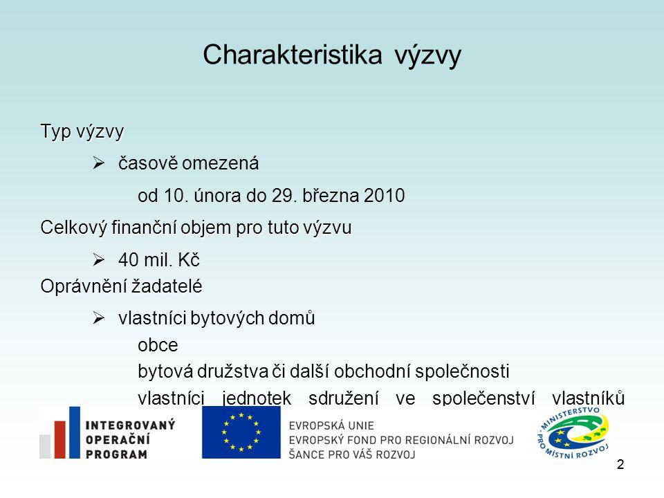 2 Charakteristika výzvy Typ výzvy  časově omezená od 10. února do 29. března 2010 Celkový finanční objem pro tuto výzvu  40 mil. Kč Oprávnění žadate