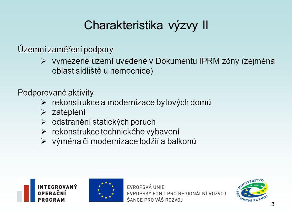 3 Charakteristika výzvy II Územní zaměření podpory  vymezené území uvedené v Dokumentu IPRM zóny (zejména oblast sídliště u nemocnice) Podporované ak