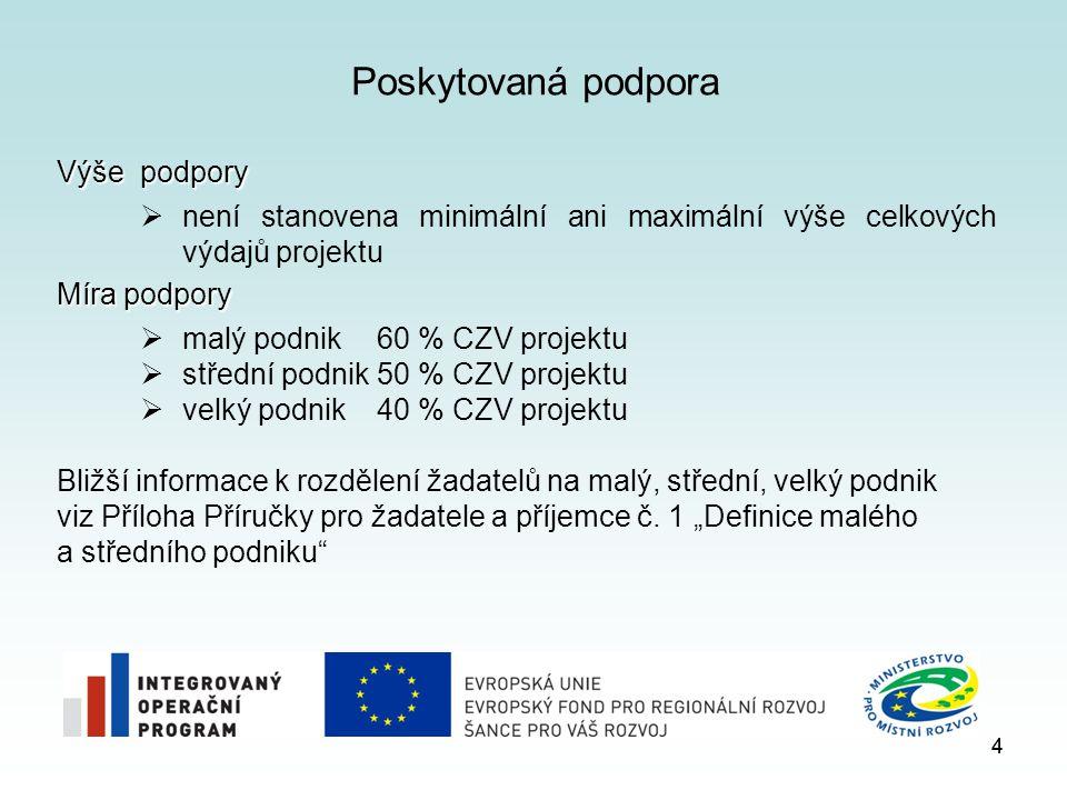 4 Poskytovaná podpora Výše podpory  není stanovena minimální ani maximální výše celkových výdajů projektu Míra podpory  malý podnik 60 % CZV projekt