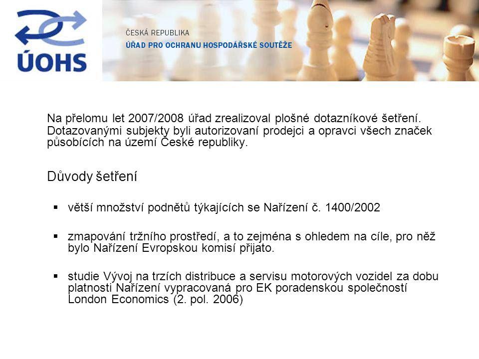 Na přelomu let 2007/2008 úřad zrealizoval plošné dotazníkové šetření. Dotazovanými subjekty byli autorizovaní prodejci a opravci všech značek působící