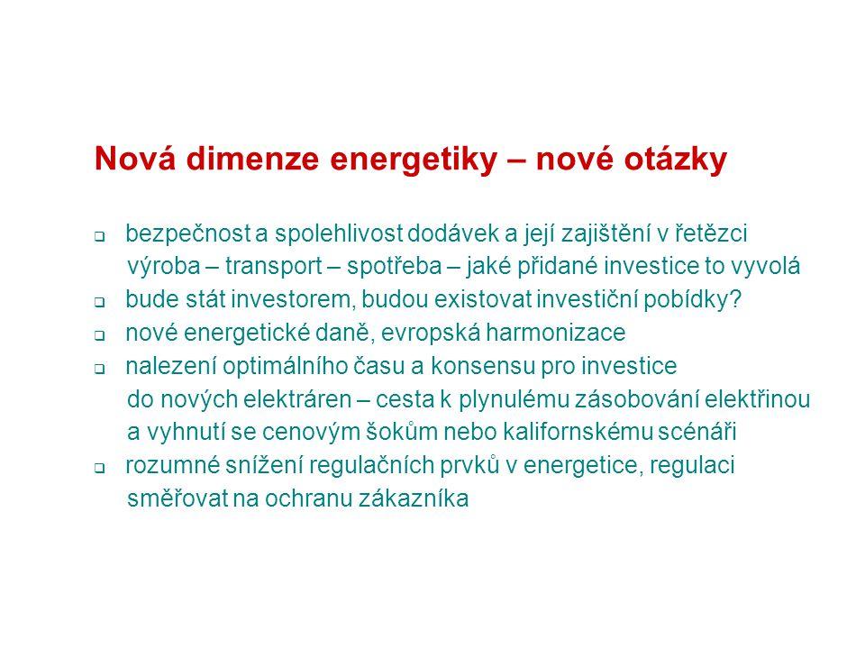 Nová dimenze energetiky – nové otázky  bezpečnost a spolehlivost dodávek a její zajištění v řetězci výroba – transport – spotřeba – jaké přidané investice to vyvolá  bude stát investorem, budou existovat investiční pobídky.