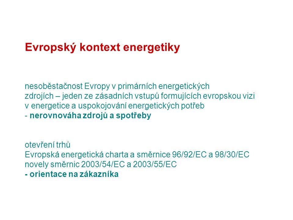 Evropský kontext energetiky nesoběstačnost Evropy v primárních energetických zdrojích – jeden ze zásadních vstupů formujících evropskou vizi v energetice a uspokojování energetických potřeb - nerovnováha zdrojů a spotřeby otevření trhů Evropská energetická charta a směrnice 96/92/EC a 98/30/EC novely směrnic 2003/54/EC a 2003/55/EC - orientace na zákazníka