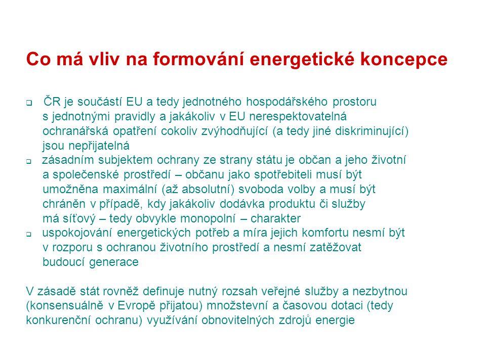Co má vliv na formování energetické koncepce  ČR je součástí EU a tedy jednotného hospodářského prostoru s jednotnými pravidly a jakákoliv v EU nerespektovatelná ochranářská opatření cokoliv zvýhodňující (a tedy jiné diskriminující) jsou nepřijatelná  zásadním subjektem ochrany ze strany státu je občan a jeho životní a společenské prostředí – občanu jako spotřebiteli musí být umožněna maximální (až absolutní) svoboda volby a musí být chráněn v případě, kdy jakákoliv dodávka produktu či služby má síťový – tedy obvykle monopolní – charakter  uspokojování energetických potřeb a míra jejich komfortu nesmí být v rozporu s ochranou životního prostředí a nesmí zatěžovat budoucí generace V zásadě stát rovněž definuje nutný rozsah veřejné služby a nezbytnou (konsensuálně v Evropě přijatou) množstevní a časovou dotaci (tedy konkurenční ochranu) využívání obnovitelných zdrojů energie
