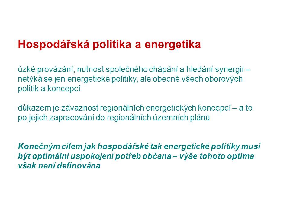 Hospodářská politika a energetika úzké provázání, nutnost společného chápání a hledání synergií – netýká se jen energetické politiky, ale obecně všech oborových politik a koncepcí důkazem je závaznost regionálních energetických koncepcí – a to po jejich zapracování do regionálních územních plánů Konečným cílem jak hospodářské tak energetické politiky musí být optimální uspokojení potřeb občana – výše tohoto optima však není definována