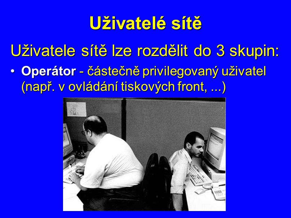 Uživatelé sítě Uživatele sítě lze rozdělit do 3 skupin: Supervizor (administrátor, správce) - absolutně privilegovaný uživatelSupervizor (administrátor, správce) - absolutně privilegovaný uživatel Pravomoc x odpovědnost !!!