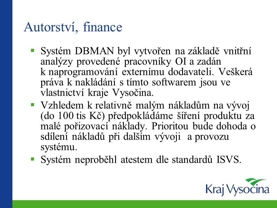 Autorství, finance  Systém DBMAN byl vytvořen na základě vnitřní analýzy provedené pracovníky OI a zadán k naprogramování externímu dodavateli.