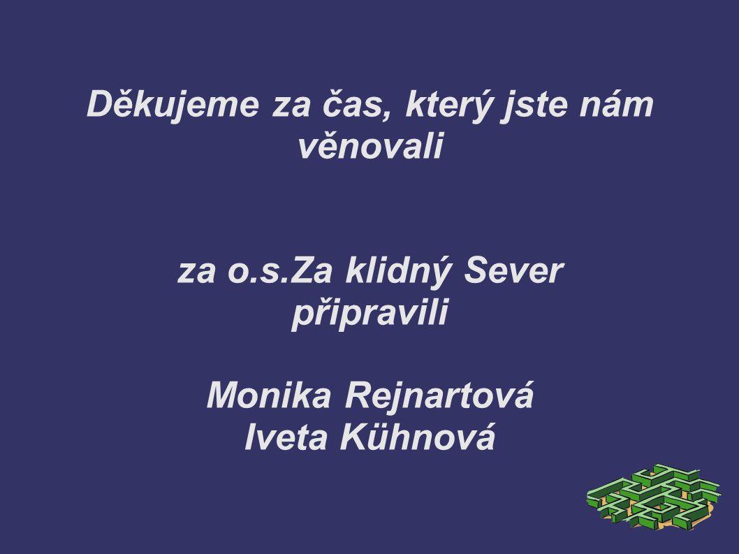 Děkujeme za čas, který jste nám věnovali za o.s.Za klidný Sever připravili Monika Rejnartová Iveta Kühnová