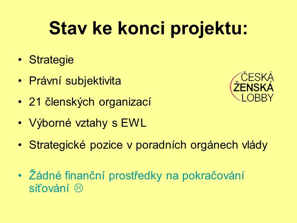 Stav ke konci projektu: Strategie Právní subjektivita 21 členských organizací Výborné vztahy s EWL Strategické pozice v poradních orgánech vlády Žádné finanční prostředky na pokračování síťování 