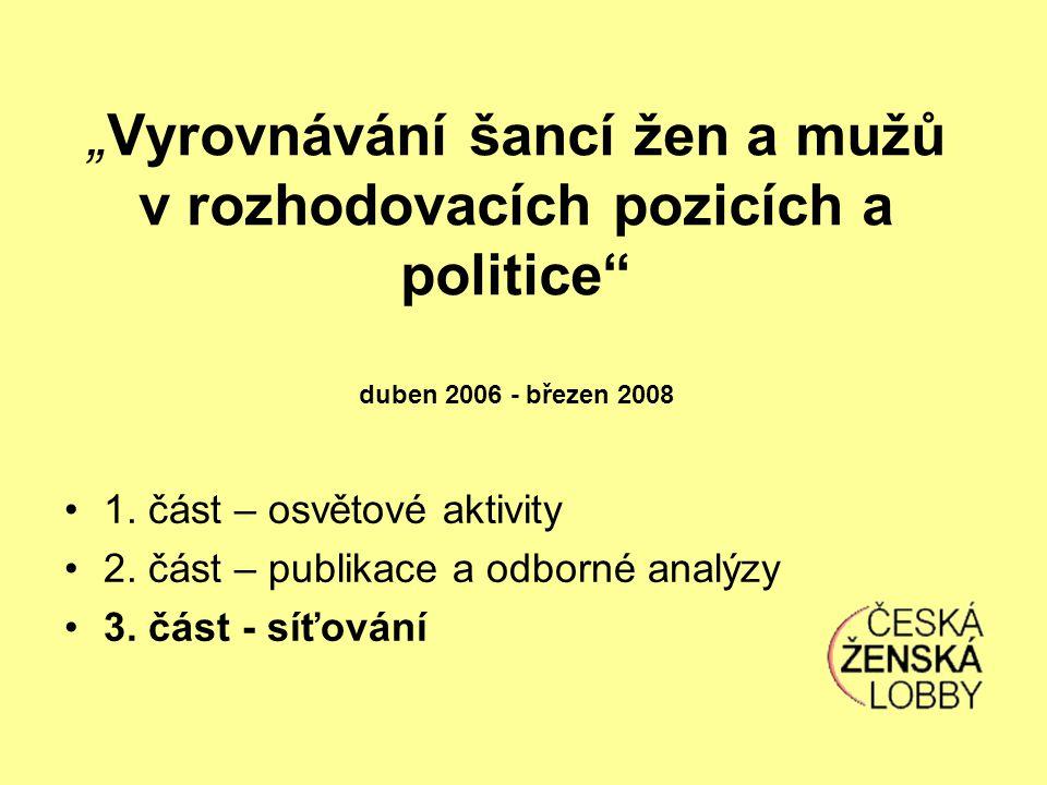 """""""Vyrovnávání šancí žen a mužů v rozhodovacích pozicích a politice duben 2006 - březen 2008 1."""