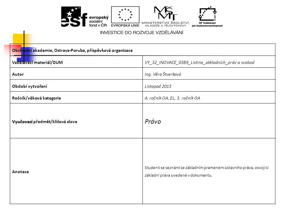 Obchodní akademie, Ostrava-Poruba, příspěvková organizace Vzdělávací materiál/DUMVY_32_INOVACE_03B9_Listina_základních_práv a svobod AutorIng. Věra Št