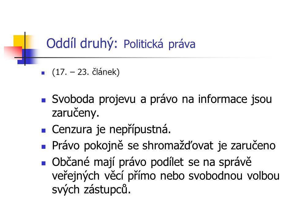 Oddíl druhý: Politická práva (17. – 23. článek) Svoboda projevu a právo na informace jsou zaručeny. Cenzura je nepřípustná. Právo pokojně se shromažďo