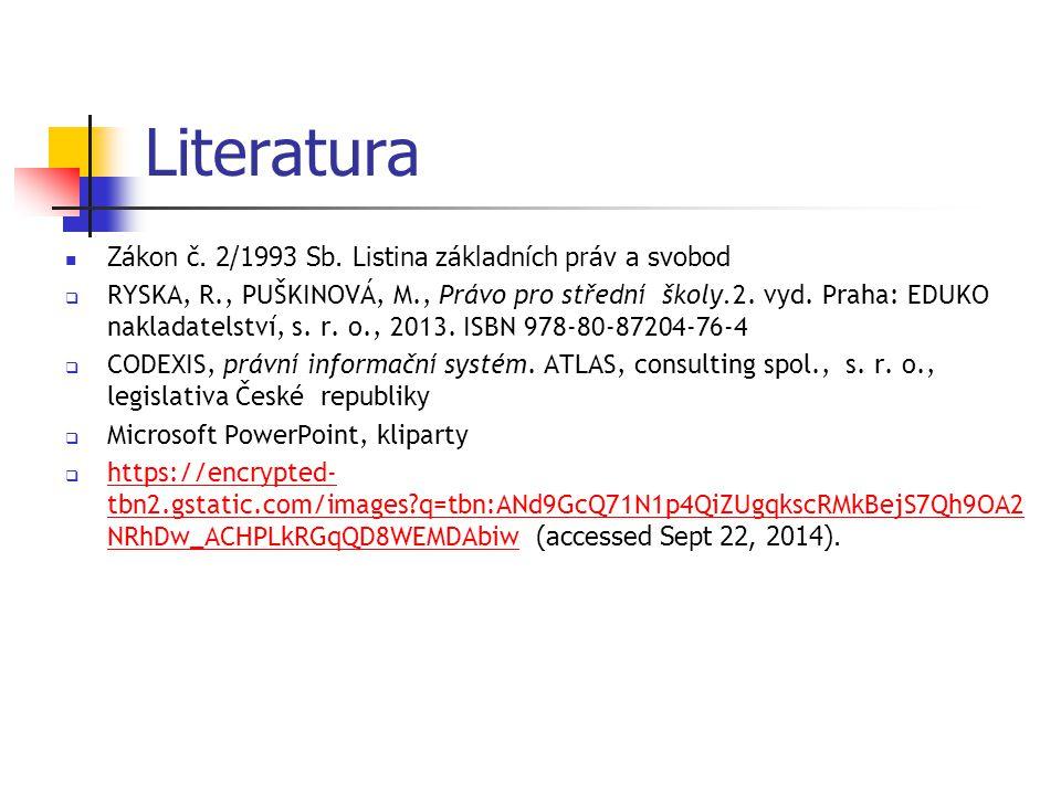 Literatura Zákon č.2/1993 Sb.