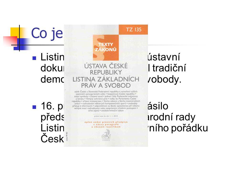 Co je to? Listina je první ucelený ústavní dokument, který zakotvil tradiční demokratická práva a svobody. 16. prosince 1992 prohlásilo předsednictvo