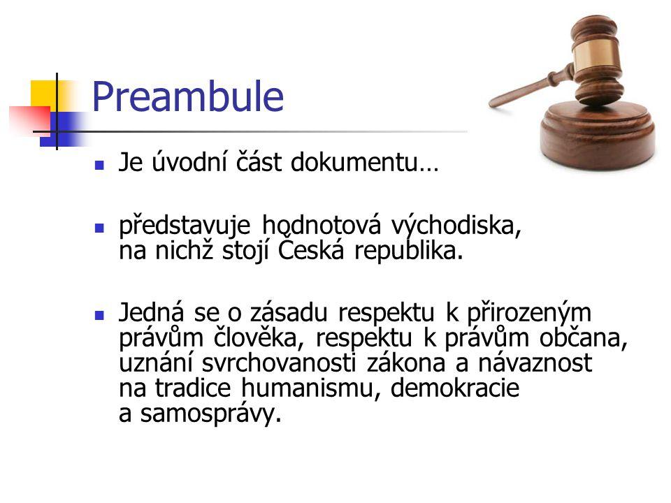 Preambule Je úvodní část dokumentu… představuje hodnotová východiska, na nichž stojí Česká republika. Jedná se o zásadu respektu k přirozeným právům č