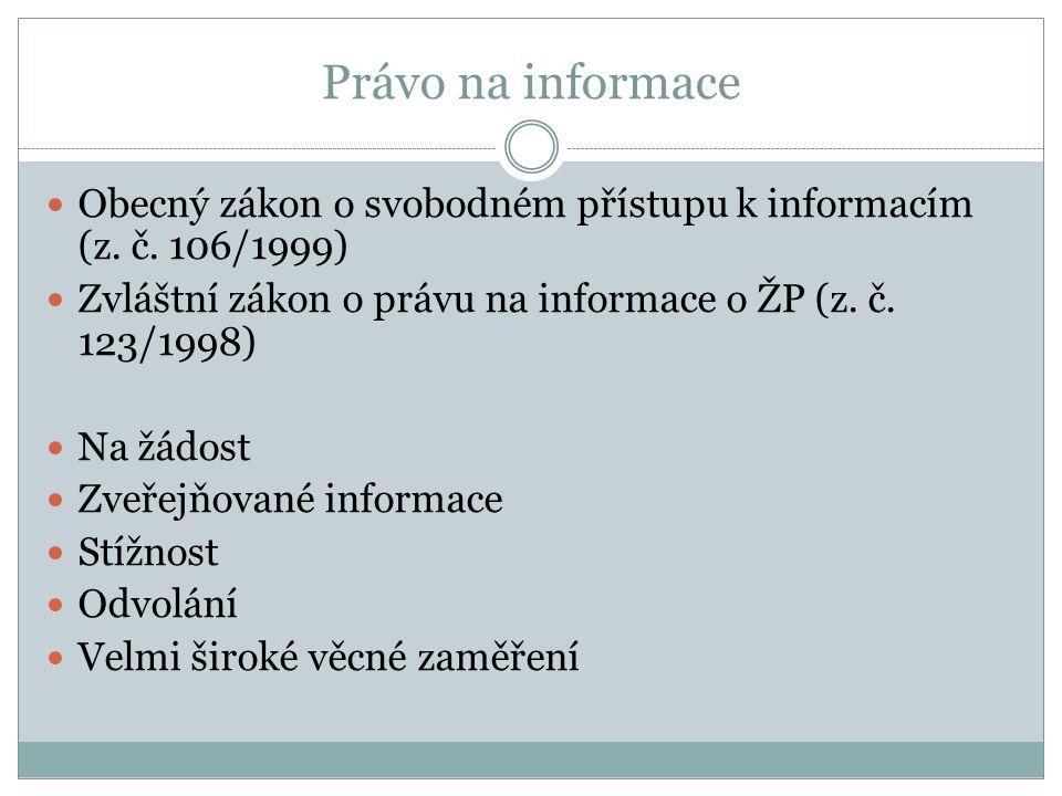 Právo na informace Obecný zákon o svobodném přístupu k informacím (z. č. 106/1999) Zvláštní zákon o právu na informace o ŽP (z. č. 123/1998) Na žádost