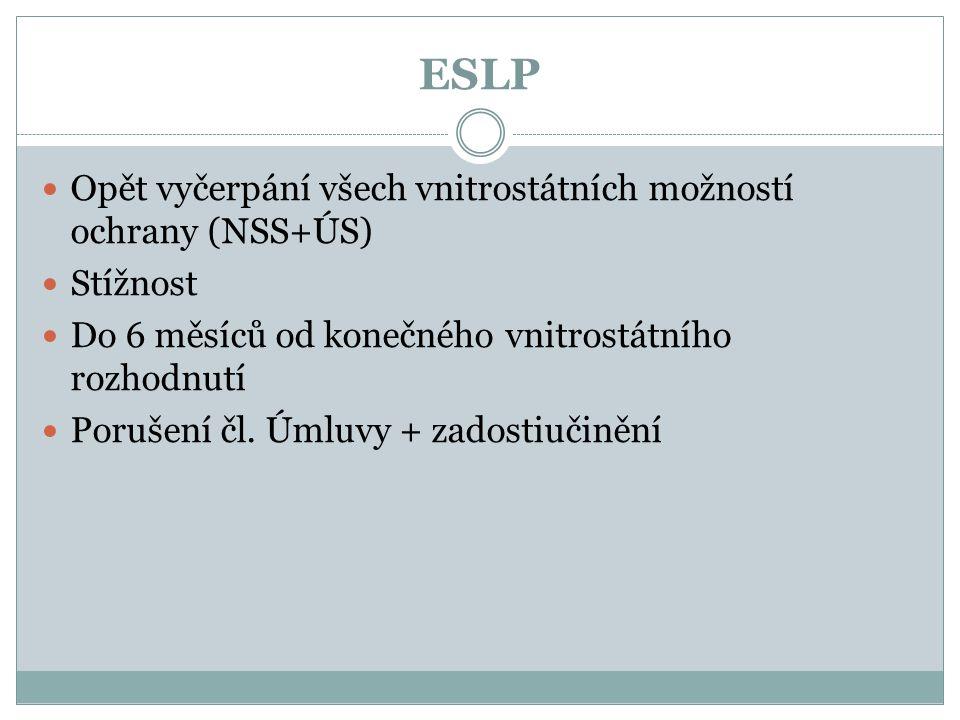 ESLP Opět vyčerpání všech vnitrostátních možností ochrany (NSS+ÚS) Stížnost Do 6 měsíců od konečného vnitrostátního rozhodnutí Porušení čl. Úmluvy + z