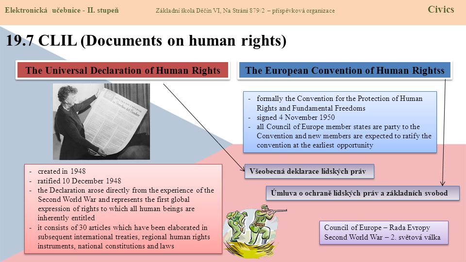 Council of Europe – Rada Evropy Second World War – 2. světová válka Council of Europe – Rada Evropy Second World War – 2. světová válka 19.7 CLIL (Doc