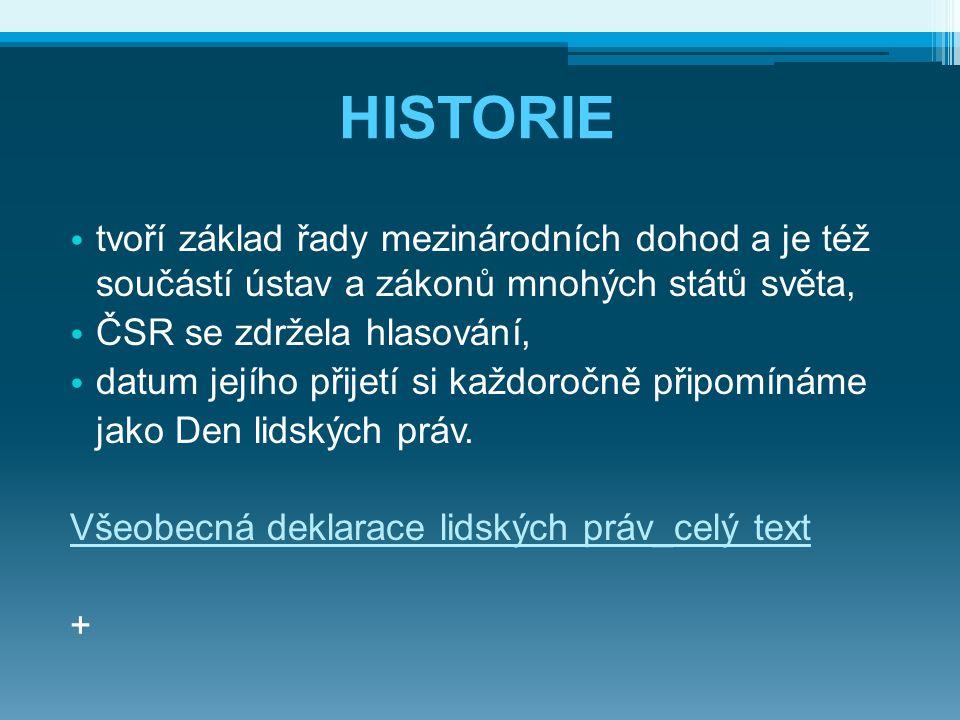 HISTORIE tvoří základ řady mezinárodních dohod a je též součástí ústav a zákonů mnohých států světa, ČSR se zdržela hlasování, datum jejího přijetí si