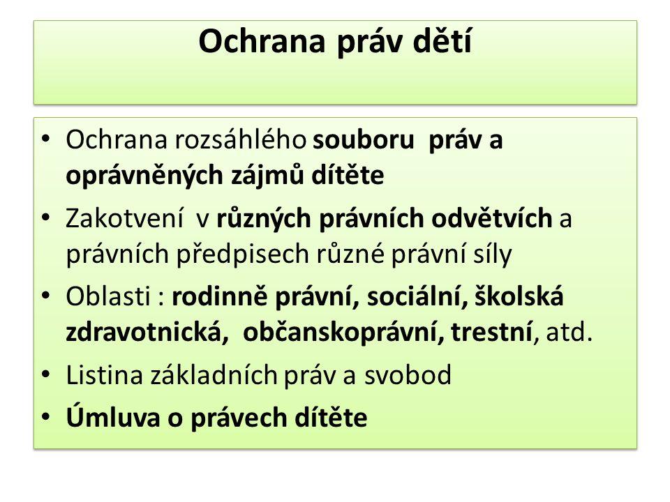 Výkon ústavní a ochranné výchovy (exkurz 2) Zákon č.